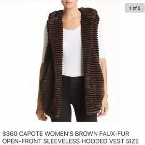NWT Capote Brown Faux Fur luxurious Vest, Sm